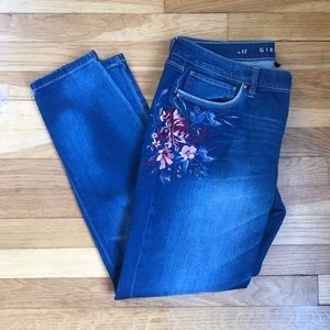White House Black Market Floral Embroidered Jeans